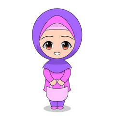 cartoon muslim women shopping daily fun vector image