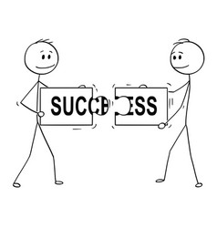 cartoon of two businessmen holding and connecting vector image
