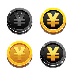 Cartoon set golden and black yen coin yuan symbol vector