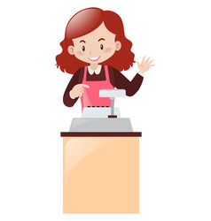 Cashier working behind the desk vector