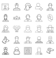 Character icons set outline style vector
