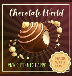 chocolate candy planet banner food galaxy vector image