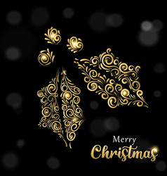 christmas card luxury gold and black holly vector image