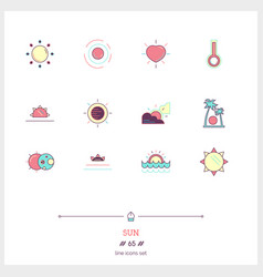 Color line icon set of sun sunrise objects and vector