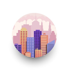 colorful cityscape round template vector image