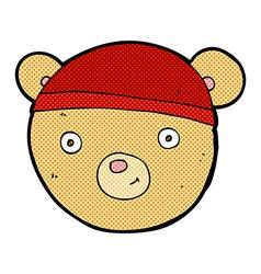 Comic cartoon teddy bear face vector
