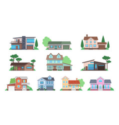 cottages home facades cottage or suburban vector image
