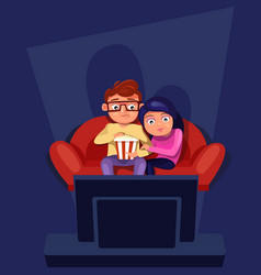 Couple sitting at couch watch tv eating popcorn vector