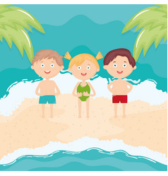 cute little kids with swimsuit on beach vector image