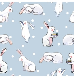 Cute seamless pattern with watercolor rabbits vector