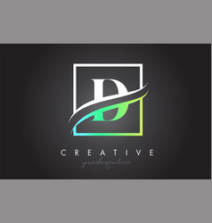 d letter logo design with square swoosh border vector image