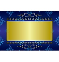 Dark blue card with golden decorations vector