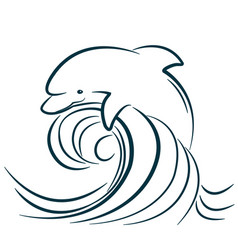 Dolphin jumping in water wave isolated vector