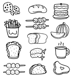Doodle of food set hand draw vector image