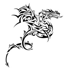 dragon tribal tattoo vector image