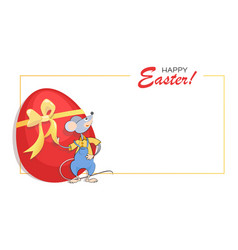 Easter background frame easter red egg vector