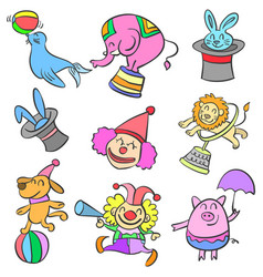 Element circus cute animal doodles vector