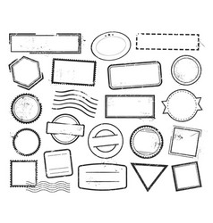 Empty postal stamps linear icons set vector