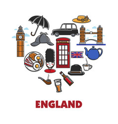England national symbols in heart shape promo vector
