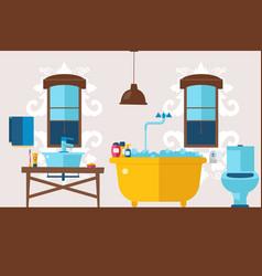 European bathroom design wash basin toilet bath vector