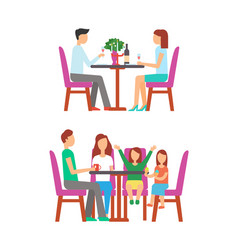 Family at bistro couple dining in rich place vector