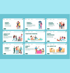 family landing pages happy family childhood vector image