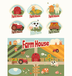 Farm house set vector