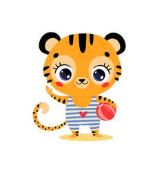 flat cute cartoon summer tropical tiger vector image