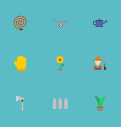 Flat icons flowerpot latex garden hose and other vector