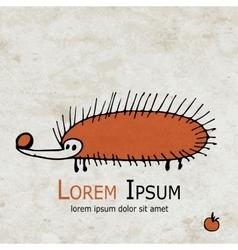 Funny orange hedgehog design on grunge paper vector image
