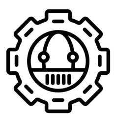 Gear with robot line icon mechanical gear with vector