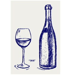 Glass wine and bottle vector