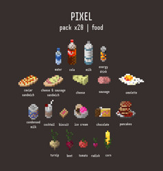 Graphical stylized pixel food icon set vector