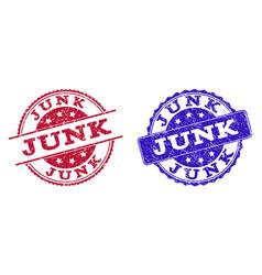 Grunge scratched junk stamp seals vector