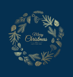 Hand drawn christmas wreath holiday vector