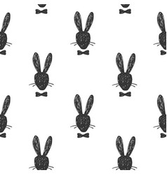 hand drawn seamless pattern with silhouette vector image