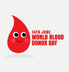 happy blood cartoon face for world blood donor day vector image