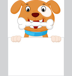 Happy dog cartoon with bone vector