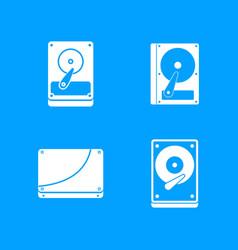 hard disk icon blue set vector image