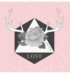 Hipster abstract background with deers antlers vector