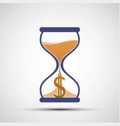 Hourglass icon with a dollar currency sign vector