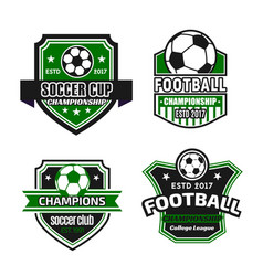 icons for soccer championship football cup vector image