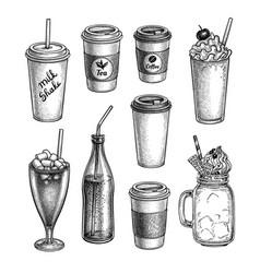 Ink sketch drinks vector