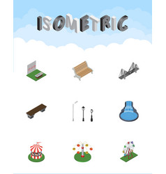 isometric architecture set of bridge aiming game vector image