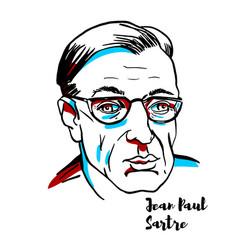 Jean-paul sartre portrait vector
