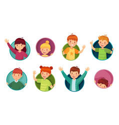 kid in round frame children look out circle vector image