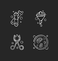 laboratory tools chalk white icons set on black vector image