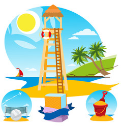 Lifeguard tower beach volleyball ice cream toy vector
