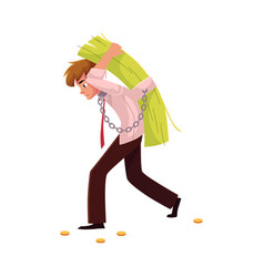Man carrying bundle of banknotes on his back vector