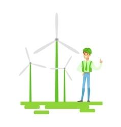 Man In Hard Hat Standing Next To Wind Power vector